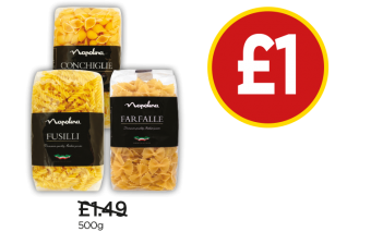 Napolina Conchigle, Fusilli, Farfalle - Was £1.49, Now £1 at Budgens