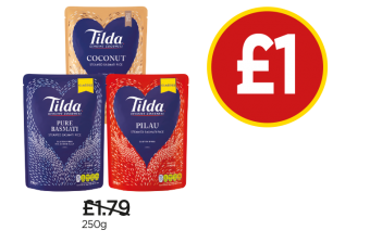 Tilda Steamed Basmati Rice, Piliau Rice, Coconut Rice - Was £1.79, Now £1 at Budgens