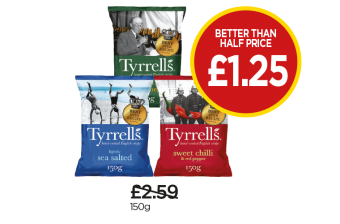 Tyrell's Lightly Sea Salted, Sea Salt & Cider Vinegar, Sweet Chilli & Sundried Tomato - Better Than Half Price of £1.25 at Budgens