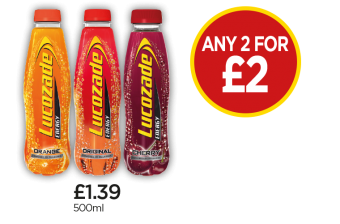 Lucozade Energy Orange, Original, Cherry - Any 2 for £2 at Budgens