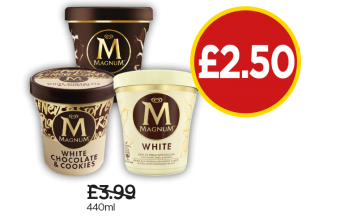 Magnum Classic Ice Cream, Cookeis & Cream, White - Was £3.99, Now £2.50 at Budgens
