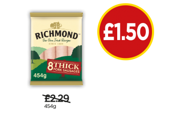Richmond Sausages - Was £2.29, Now £1.50 at Budgens