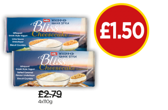 Muller Whipped Greek Style Bliss Cheesecake Lime, Muller Whipped Greek Style Bliss Cheesecake Salted Caramel - Was £2.79, Now £1.50 at Budgens